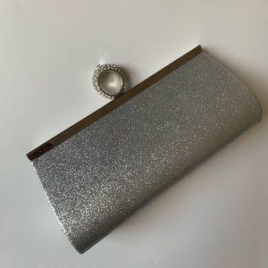 Handbags - Silver Glitter Sparkle Evening Clutch Bag